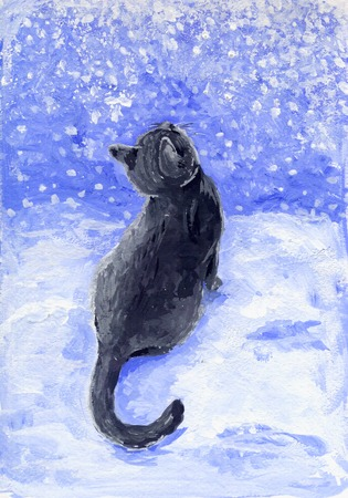 oil color: Gray cat and snow  Cute gray kitten looks at snowflakes Stock Photo