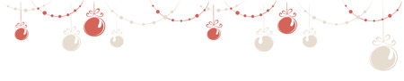 narrow: Christmas decorations  Horizontal narrow banner with beads and balls Illustration