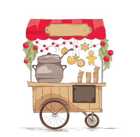 Hot drinks on wheels. Vector illustration on the theme of street food.