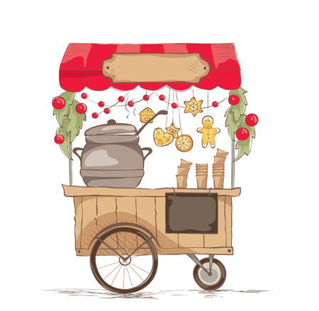 Warme drankjes op wielen. / Vector illustratie over het thema street food.