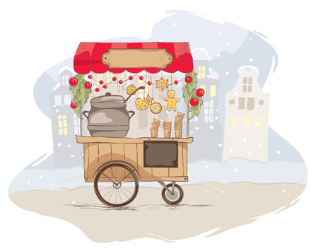 wine trade: Hot drinks on wheels. Christmas vector illustration and illustration on the theme of street food.