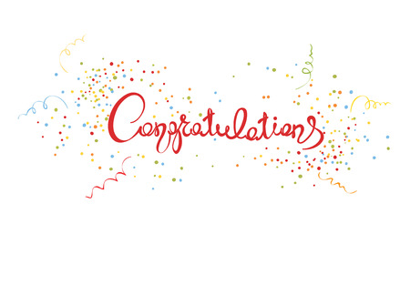 title: CongratulationsHandwritten calligraphy with confetti and streamers, banner, title