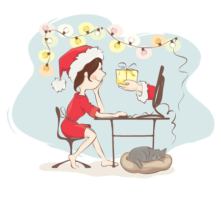Christmas gifts through onlineYoung woman receives a gift, ordered over the Internet
