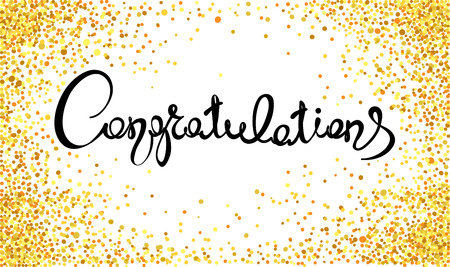 Congratulations/Handwritten calligraphy with gold confetti. Banner, title. Çizim