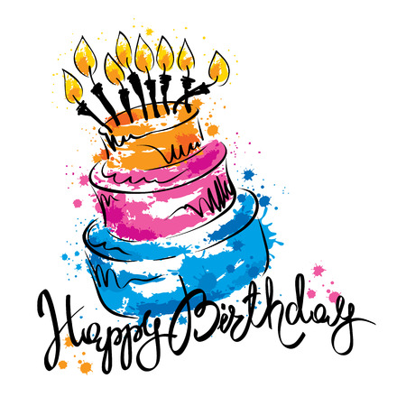 Cake ans Happy Birthday  Handwritten vector calligraphy with abstract cake