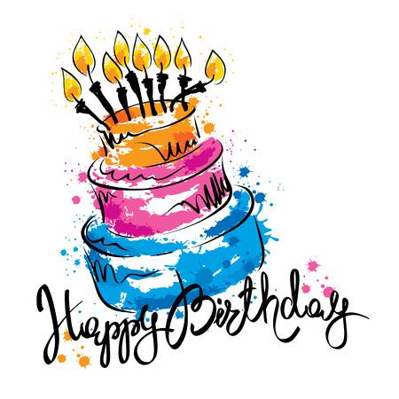 Tort ans z okazji urodzin / Odręczne kaligrafia wektor z abstrakcyjnej ciasta