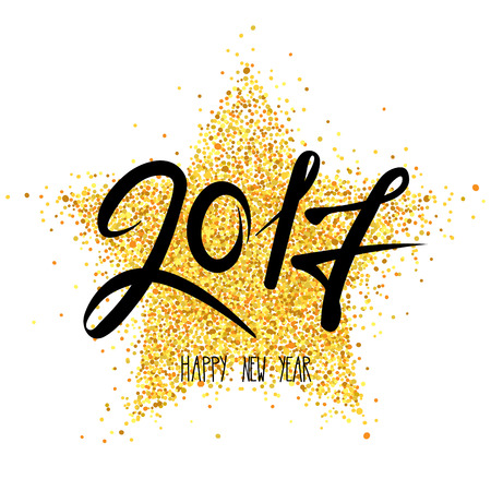 Happy New Year 2017  Vector illustration, holiday background with a metallic confetti. Illustration