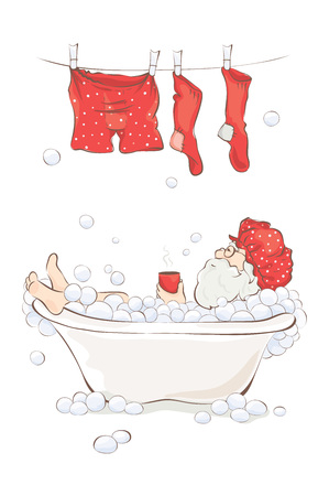 hot cup: Santa after work  Grandfather relaxing in a bath with a cup of hot drink, funny postcard