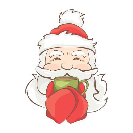 warms: Santa warms  Vector christmas illustration, Santa drinking a hot drink