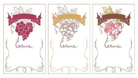 wine grapes: Wine labels  Set vector template for wine label with with a bunch of grapes in the shape of a heart. Illustration