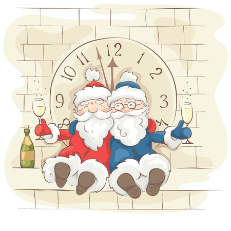 tipsy: Two cheerful Santa Claus  Christmas Vector illustration, postcard. Grandfathers fun celebrate the new year on the tower with a clock Illustration