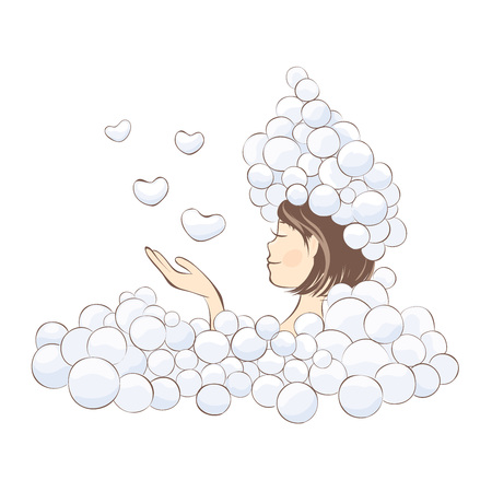 Girl in the foam  Funny vector illustration, young girl is launching soap bubbles in a heart shape