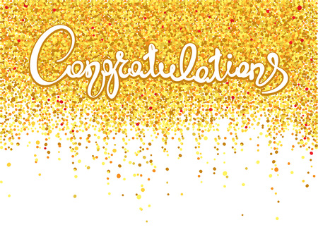 Congratulations/Handwritten calligraphy with gold confetti. Banner, background, title. Stok Fotoğraf - 69473471
