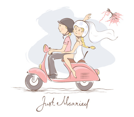 bride: Bride and groom on a scooter  Vector illustration, card, bride throws the bouquet