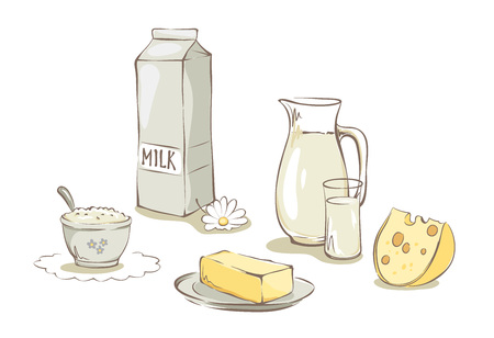 milk products: Milk and dairy products -- set  Collection vector illustrations, clip art -- Illustration