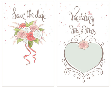 wedding bouquet: Save the date, wedding invitation card  Classic vector ornaments for invitation with brides bouquet