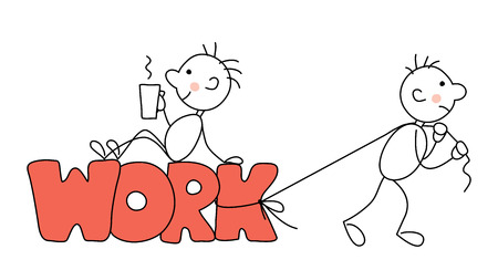 Heavy work, Someone Else's work, drag on itself / Vector illustration with simple funny mans at work Imagens - 70187709