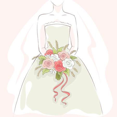 bride bouquet: Bride with bouquet  Vector illustration, card, gentle young bride with flowers Illustration