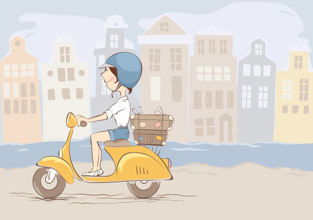 Girl on scooter rides rides through the old townYoung woman traveling by scooter, vector illustration