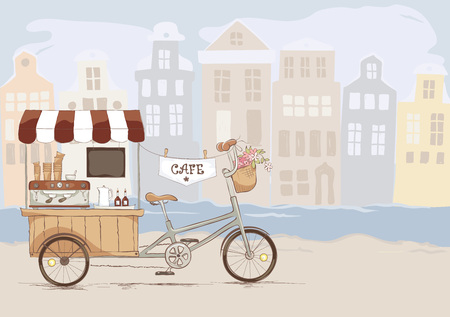 Coffee house on bicycle./ Vector illustration on the theme of street food.
