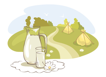 hayfield: Milk and rural meadow  Vector illustration with jar of milk on the background of meadows