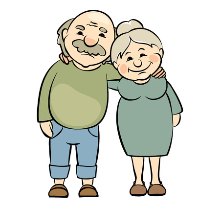 happy seniors: Happy seniors couple  Vector illustration of grandparents happy together