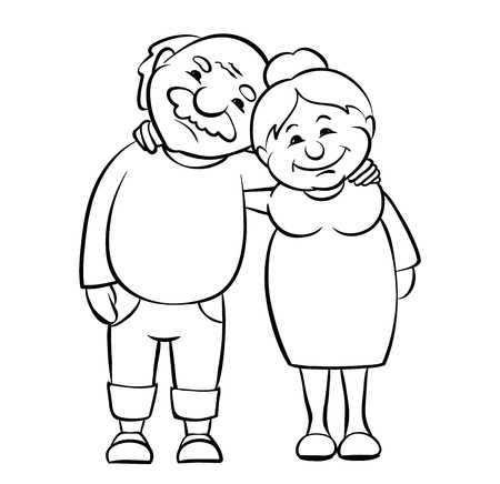 Happy seniors couple / Vector graphic illustration of grandparents happy together