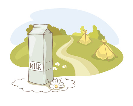 hayfield: Milk and rural meadow  Vector illustration with pack of milk on the background of meadows