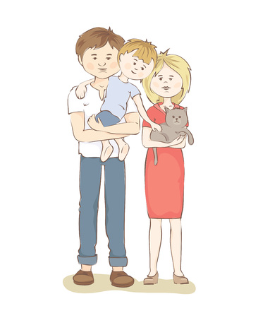 father and child: United family  Graphic vector illustration with mother, father, child and cat