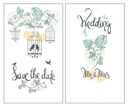 Ahorre la fecha, tarjeta de invitación de la boda ornamentos del vector / Classic para la invitación con las aves Ilustración de vector