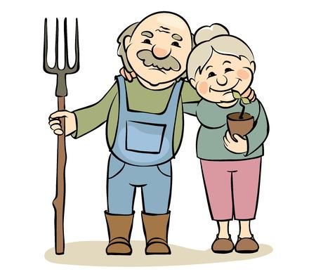 Un par de jardineros de edad avanzada / Ilustración del vector - mujeres de edad y hombres dedicados a la horticultura