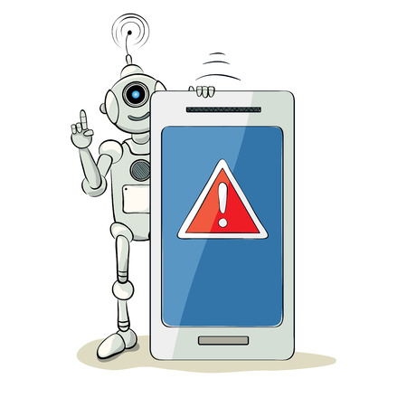 Robot and smartphone - attention  The friendly robot with a warning sign, vector illustration
