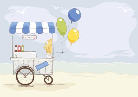 Ice cream shop on the beach Vector illustration on the theme of street food