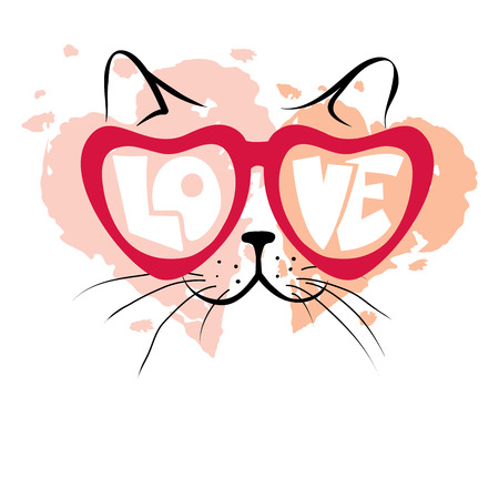 Valentine card -- Enamored cat  Vector illustration, print, background with funny cat in glasses Illustration