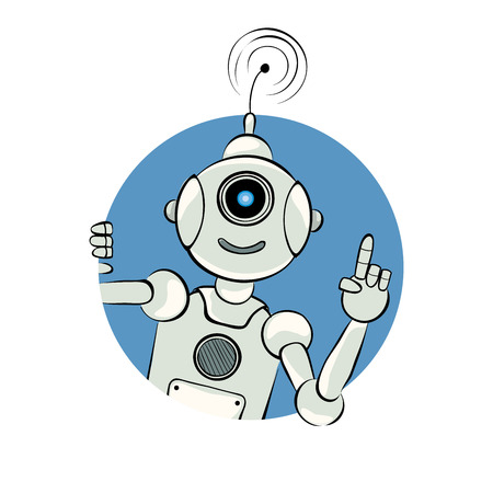 monocular: Robot, warning gesture  The friendly robot with sign to alert, vector illustration