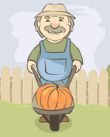 Elderly man with a handcart on the background of the rural landscape  Vector illustration with farmer with pumpkin