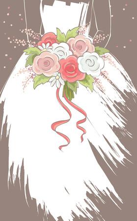 femme romantique: Mariée avec bouquet  Vector illustration, carte, douce jeune mariée avec des fleurs