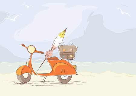 sea transport: Summer travel on a scooterScooter with a suitcase on the beach, vector illustration