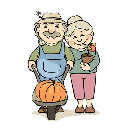Una coppia di anziani giardinieri / illustrazione vettoriale - donne anziane e gli uomini impegnati in orticoltura Vettoriali
