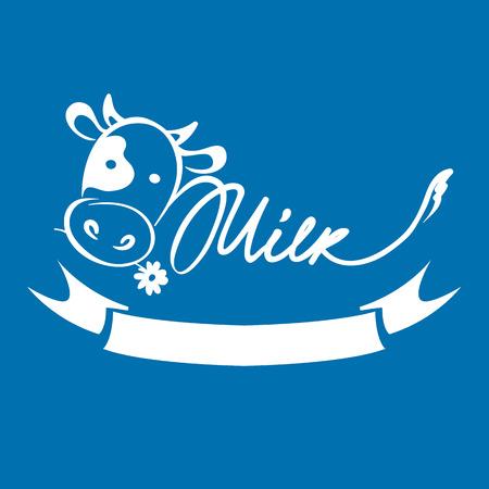 Logotipo per prodotti lattiero-caseari e latte / Illustrazioni vettoriali con mucca divertente, marchio di fabbrica, segno Logo