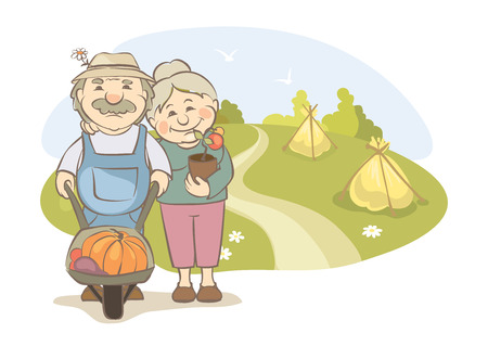 hayfield: A pair of older gardeners  Vector illustration -- elderly women and men engaged in horticulture