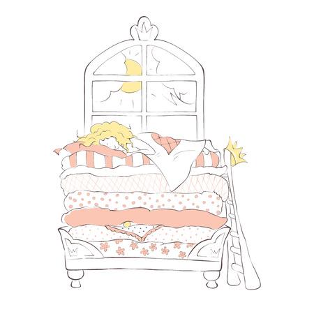 Prinzessin auf der Erbse / Mädchen süß auf dem Bett im Schloss schlafen, Vektor-Illustration Vektorgrafik