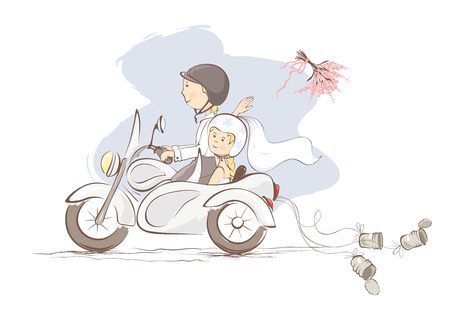 motorbike: Just married on a motorcycle  Vector illustration, card -- bride throws the bouquet
