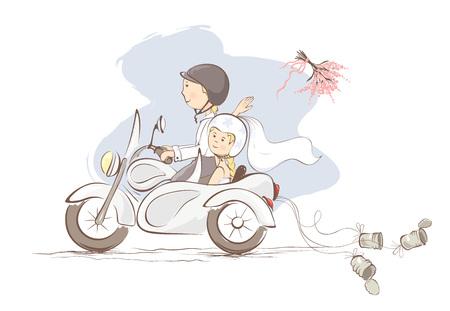 Enkel getrouwd op een motorfiets / Vector illustratie, de kaart - bruid gooit het boeket
