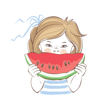 watermelon woman: Summer Girl  Vector illustration or postcard, child with a slice of watermelon Illustration