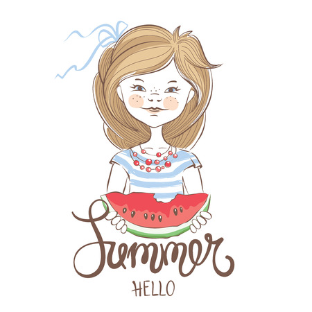 watermelon woman: Summer Girl  Vector illustration or postcard with slices of watermelon Illustration