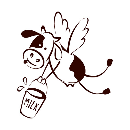 Logotype for dairy and milk product  Vector illustrations with funny cow, trademark, sign