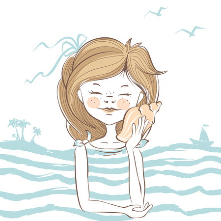 travel woman: Hear the sea  Girl listening to sound of the sea in a shell