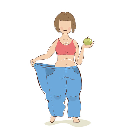 Use fruit diet  A very thin woman tries on her old trousers, vector illustration