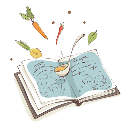 Magic Cookbook  Vector illustration, recipe for soup with vegetables Ilustracja